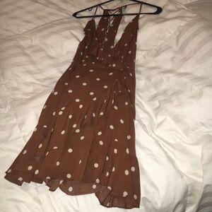 Kimchi Blue Sabina polkadot ruffle wrap dress
